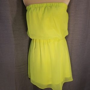 Here comes the sun! Highlighter yellow mini dress
